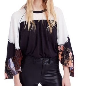 Friday Fever Mixed Media Contrast Top Black Small